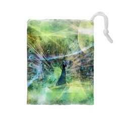 Digitally Painted Abstract Style Watercolour Painting Of A Peacock Drawstring Pouches (Large)