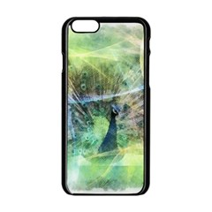 Digitally Painted Abstract Style Watercolour Painting Of A Peacock Apple iPhone 6/6S Black Enamel Case