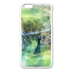 Digitally Painted Abstract Style Watercolour Painting Of A Peacock Apple iPhone 6 Plus/6S Plus Enamel White Case