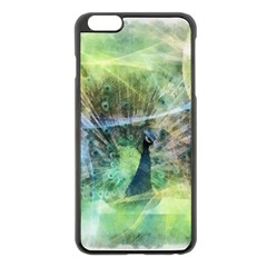 Digitally Painted Abstract Style Watercolour Painting Of A Peacock Apple iPhone 6 Plus/6S Plus Black Enamel Case