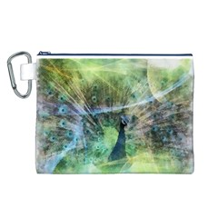 Digitally Painted Abstract Style Watercolour Painting Of A Peacock Canvas Cosmetic Bag (l)