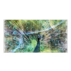 Digitally Painted Abstract Style Watercolour Painting Of A Peacock Satin Shawl
