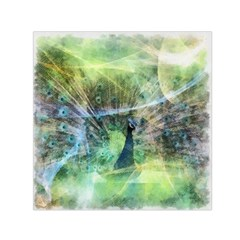 Digitally Painted Abstract Style Watercolour Painting Of A Peacock Small Satin Scarf (Square)