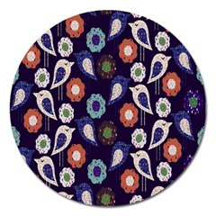 Cute Birds Pattern Magnet 5  (round)