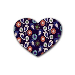 Cute Birds Pattern Rubber Coaster (heart)