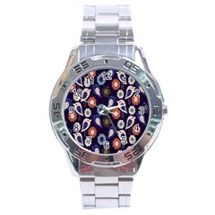 Cute Birds Pattern Stainless Steel Analogue Watch
