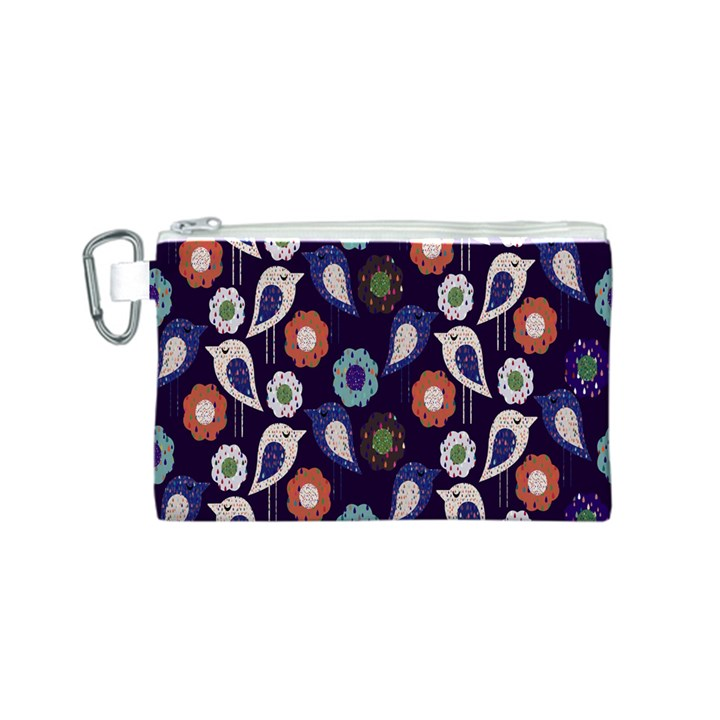 Cute Birds Pattern Canvas Cosmetic Bag (S)