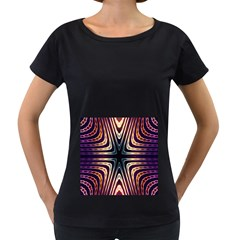 Colorful Seamless Vibrant Pattern Women s Loose-Fit T-Shirt (Black)