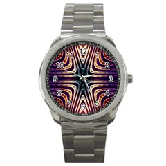 Colorful Seamless Vibrant Pattern Sport Metal Watch