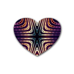 Colorful Seamless Vibrant Pattern Heart Coaster (4 pack)