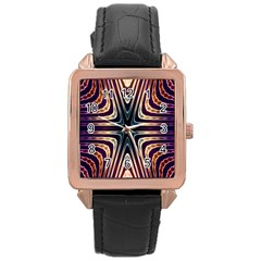 Colorful Seamless Vibrant Pattern Rose Gold Leather Watch