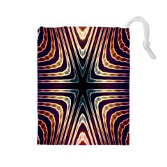 Colorful Seamless Vibrant Pattern Drawstring Pouches (Large)