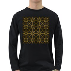 Seamless Symmetry Pattern Long Sleeve Dark T-Shirts