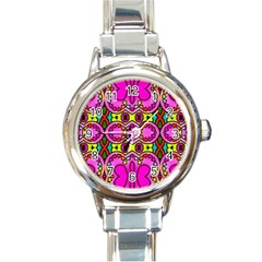 Love Hearths Colourful Abstract Background Design Round Italian Charm Watch