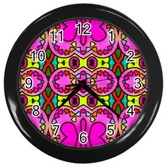 Love Hearths Colourful Abstract Background Design Wall Clocks (black)