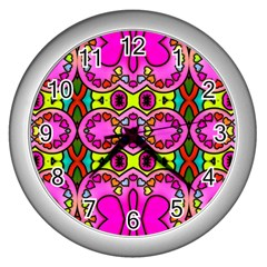 Love Hearths Colourful Abstract Background Design Wall Clocks (Silver)