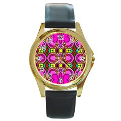 Love Hearths Colourful Abstract Background Design Round Gold Metal Watch