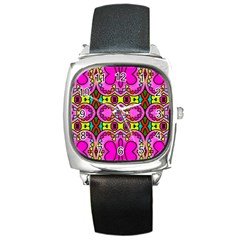 Love Hearths Colourful Abstract Background Design Square Metal Watch