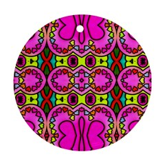 Love Hearths Colourful Abstract Background Design Round Ornament (Two Sides)
