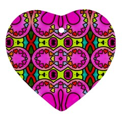 Love Hearths Colourful Abstract Background Design Heart Ornament (two Sides)