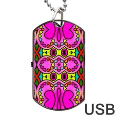 Love Hearths Colourful Abstract Background Design Dog Tag USB Flash (Two Sides)