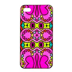 Love Hearths Colourful Abstract Background Design Apple iPhone 4/4s Seamless Case (Black)