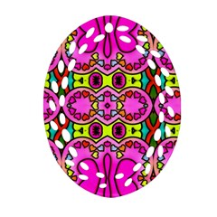 Love Hearths Colourful Abstract Background Design Oval Filigree Ornament (Two Sides)
