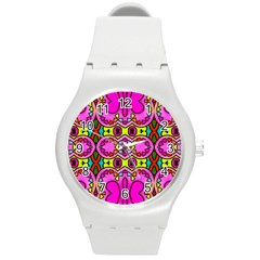 Love Hearths Colourful Abstract Background Design Round Plastic Sport Watch (M)