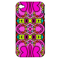 Love Hearths Colourful Abstract Background Design Apple iPhone 4/4S Hardshell Case (PC+Silicone)