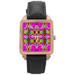Love Hearths Colourful Abstract Background Design Rose Gold Leather Watch  Front