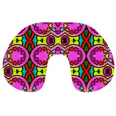 Love Hearths Colourful Abstract Background Design Travel Neck Pillows