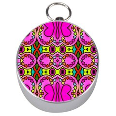 Love Hearths Colourful Abstract Background Design Silver Compasses