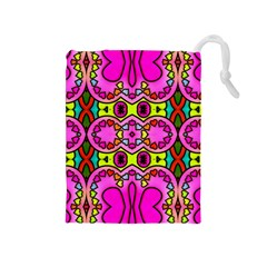 Love Hearths Colourful Abstract Background Design Drawstring Pouches (Medium)