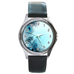 Feathery Background Round Metal Watch