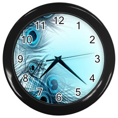 Feathery Background Wall Clocks (Black)