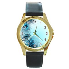 Feathery Background Round Gold Metal Watch