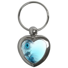 Feathery Background Key Chains (heart)