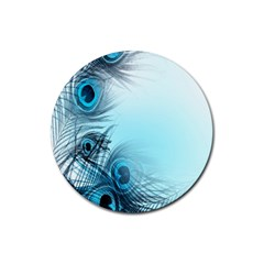 Feathery Background Rubber Coaster (round)