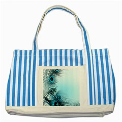 Feathery Background Striped Blue Tote Bag