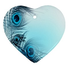 Feathery Background Heart Ornament (two Sides)