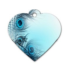Feathery Background Dog Tag Heart (one Side)