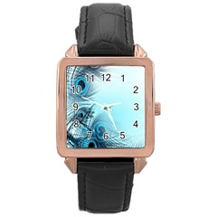 Feathery Background Rose Gold Leather Watch