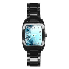 Feathery Background Stainless Steel Barrel Watch