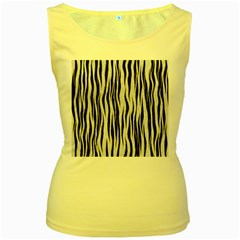 Black White Seamless Fur Pattern Women s Yellow Tank Top