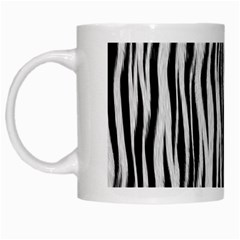 Black White Seamless Fur Pattern White Mugs
