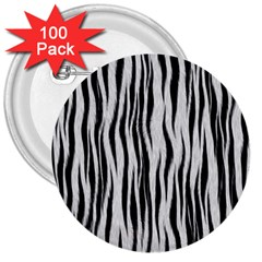 Black White Seamless Fur Pattern 3  Buttons (100 Pack)