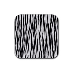 Black White Seamless Fur Pattern Rubber Square Coaster (4 Pack)