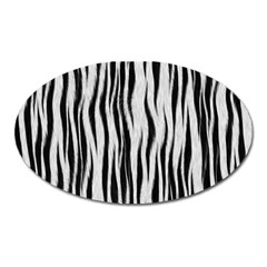Black White Seamless Fur Pattern Oval Magnet