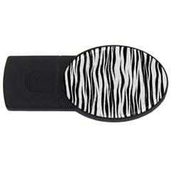 Black White Seamless Fur Pattern USB Flash Drive Oval (1 GB)