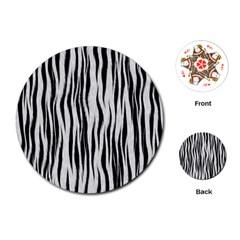 Black White Seamless Fur Pattern Playing Cards (Round)
